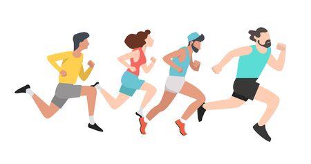group Running men and women sports background Ilustración de vector