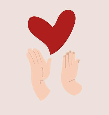 hands holding with protect red heart love