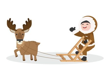 Arctic eskimo using sledge with Moose