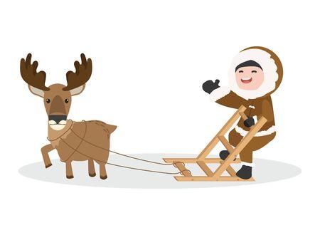 Arctic eskimo using sledge with Moose