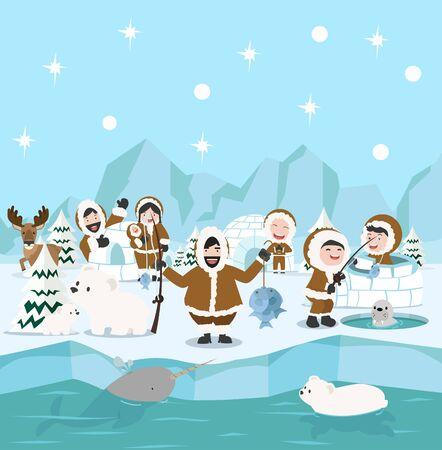 Eskimo family winter north pole arctic concept