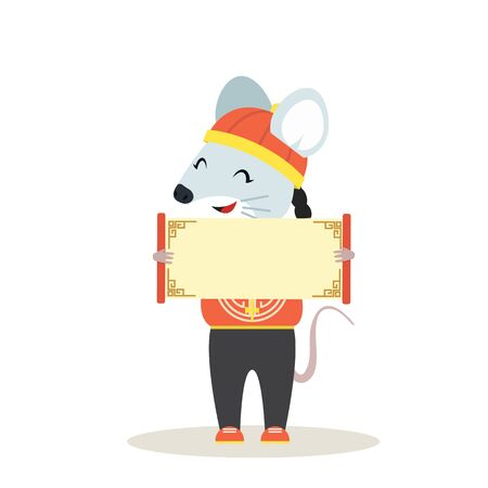Cute rat mouse Chinese with holding a blank sign Çizim