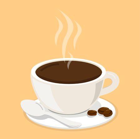 Hot white cup coffee with beans vector Vektoros illusztráció