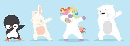 Dabbing cartoon animals dancing sign set