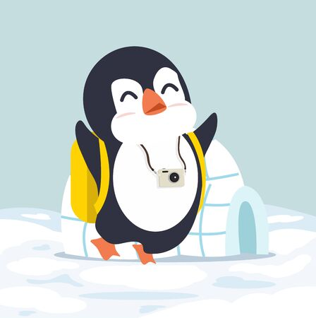 penguin with Igloo ice house vector  イラスト・ベクター素材