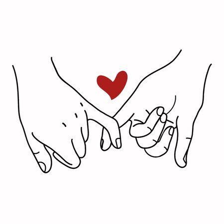 Pinky Promise contorno vettoriale con cuore rosso concept Vettoriali