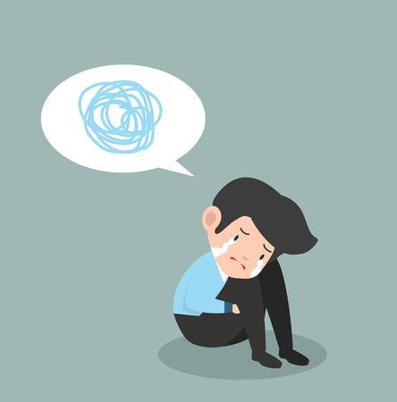 Businessman crying sad business speech bubble Ilustração
