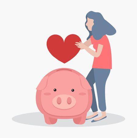 woman putting heart Piggy bank concept