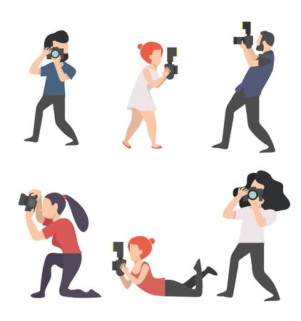 Photographers Taking camera vector Set