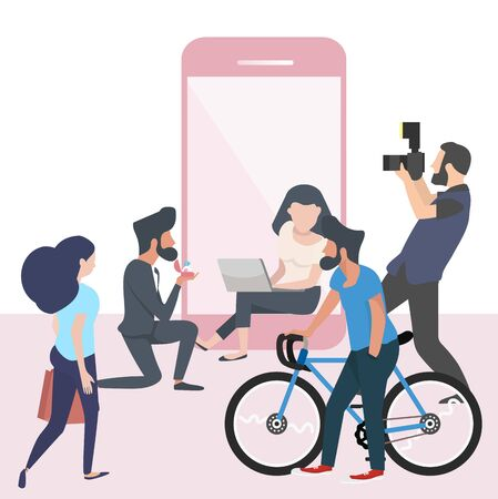 People  flat Creative  Vector with mobile phone Illustration