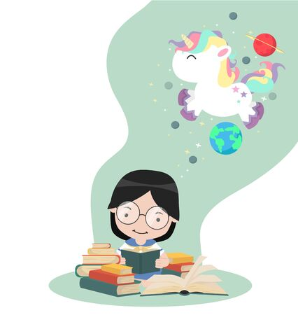 Girl sit reading book with unicorn in space