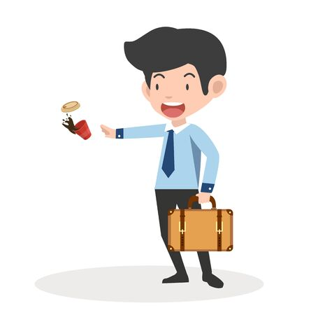 Businessman cartoon holds briefcase and coffee