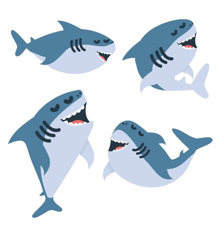 Cartoon sharks  in different actions set