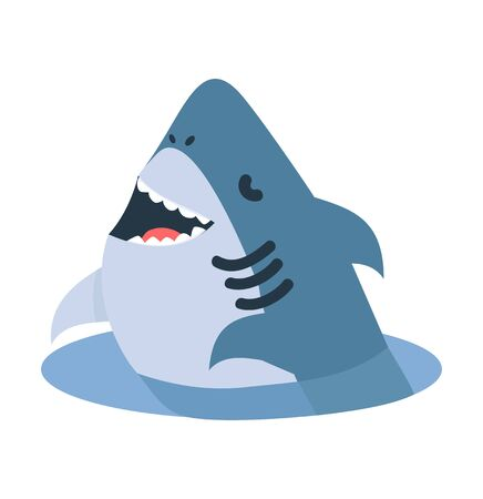 Cartoon white shark jump out of water