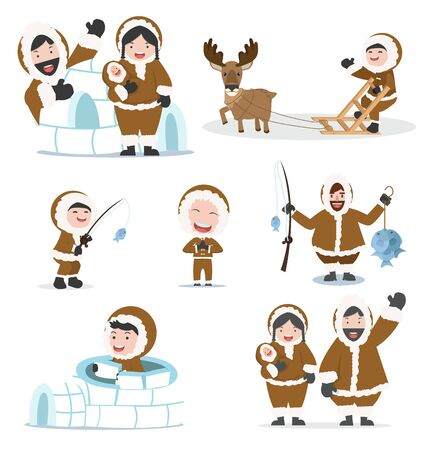 set of eskimos people family vector