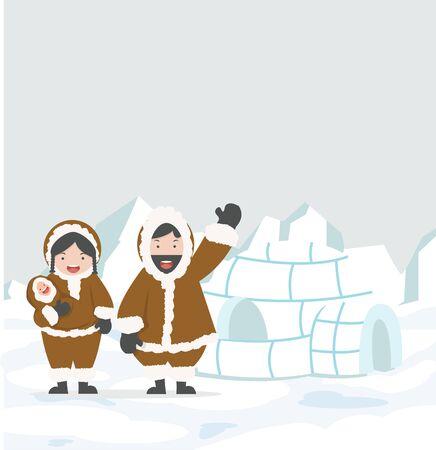 Eskimo Igloo ice house family