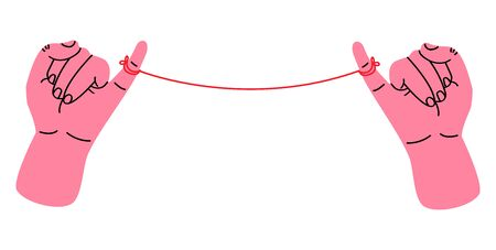 Little pinkie promise with red thread vector