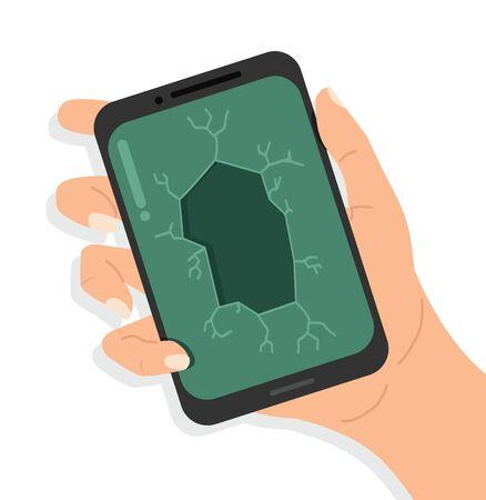 Hand holding broken smartphone vector