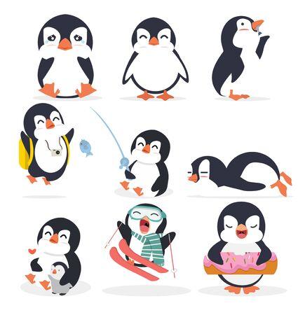 Cute fat penguin in different poses set Ilustração