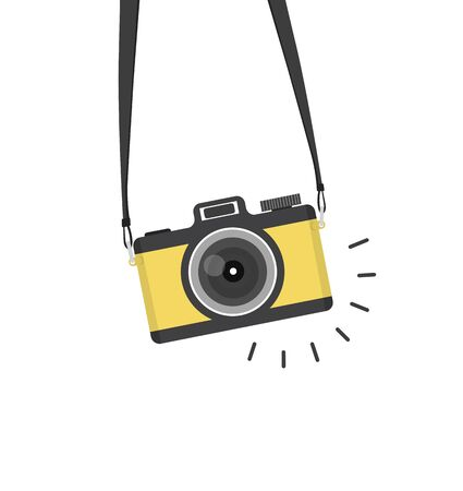 hanging vintage camera On Isolate White Background
