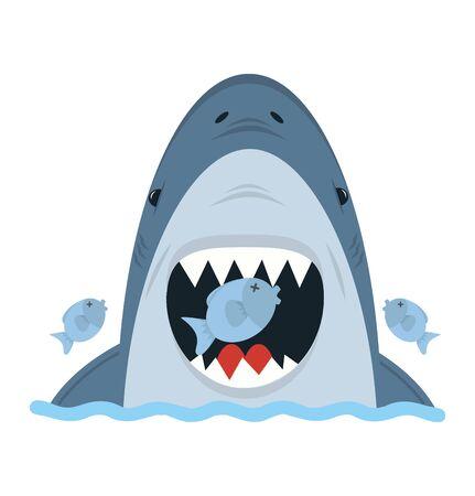 Big White Shark eat small fish