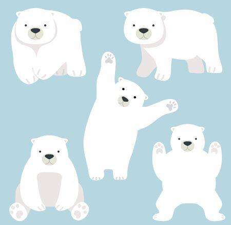 Cute Polar bear funny Cartoon vector set Ilustración de vector