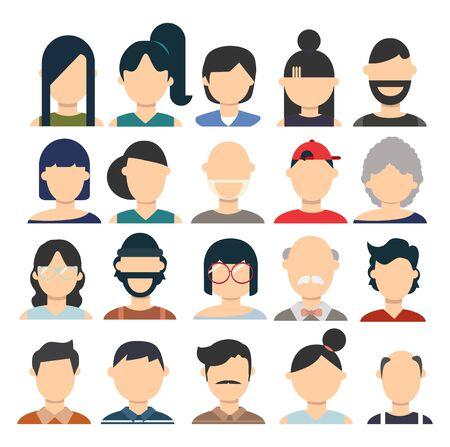 Male and female Flat avatar set