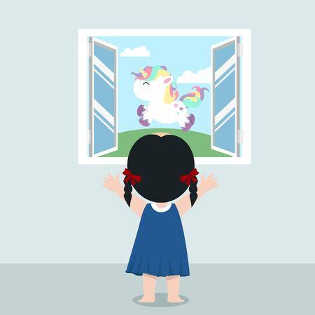 Cute girl standing back open window with unicorn