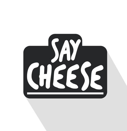 Camera with a say cheese note vector