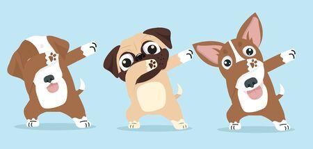 Cute dabbing Dog cool cartoon vector set