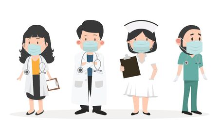 Group of doctors and nurses with Medical mask set