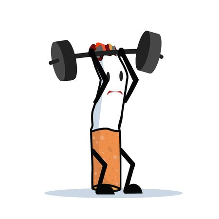 Cartoon Cigarette character Lifting Weights