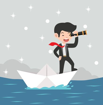 Businessman with spyglass on paper boat on paper boat