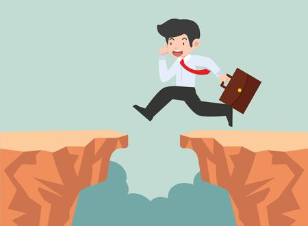 businessman jumping through the gap Ilustracja