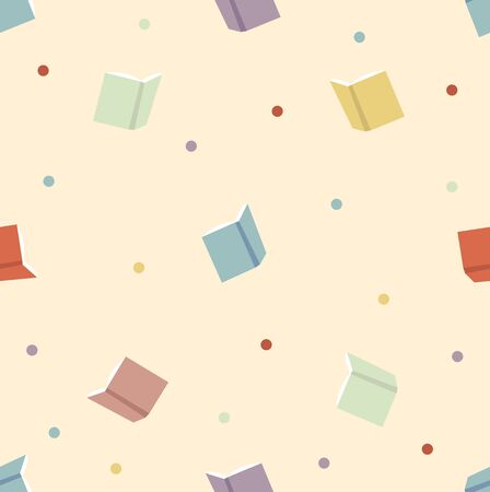 Colorful book with dots seamless pattern Ilustracja