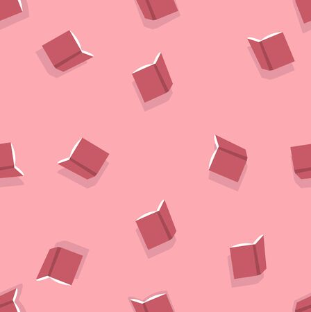 Red open books seamless pattern