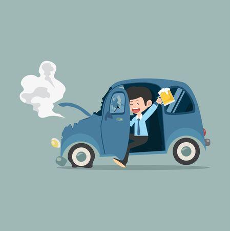 Businessman with Car accident Drunk driver Vecteurs