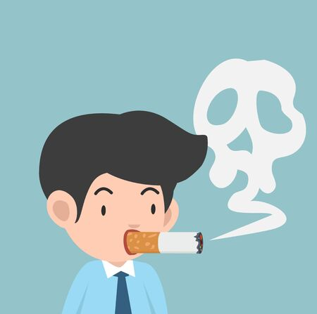 businessman is smoking cigarette vector illustration