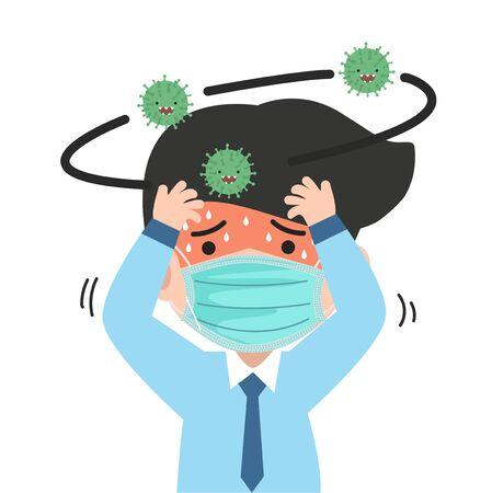 businessman  headache wearing face mask Covid-19 Coronavirus concept