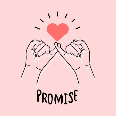 hand drawn pinky promise on pink background Vectores