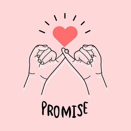 promesse pinky dessinée à la main sur fond rose Vecteurs