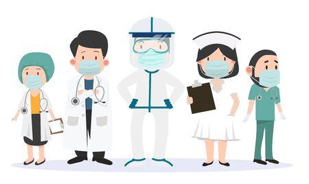 Group of doctors and nurses  team of doctors set Illustration