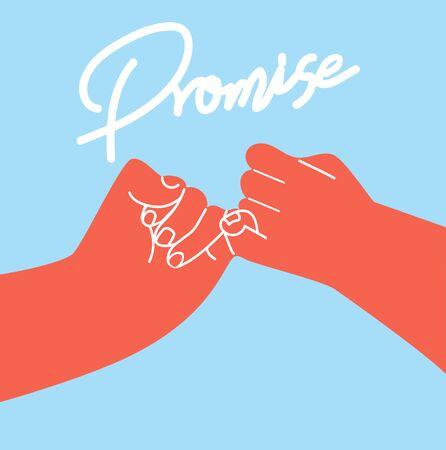 hand holding promise flat design vector concept Illusztráció