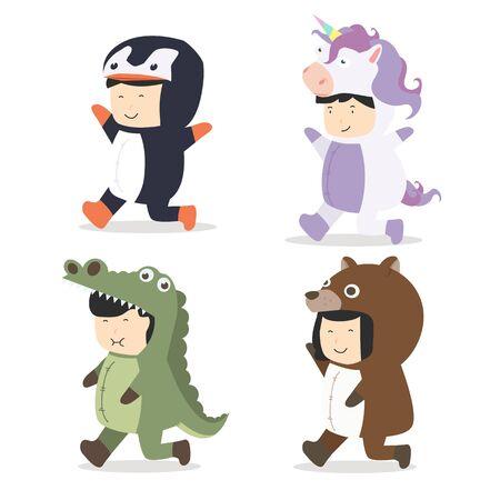 Set of cartoon kid characters in Animals costumes vector