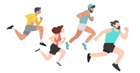 group Running people sports set