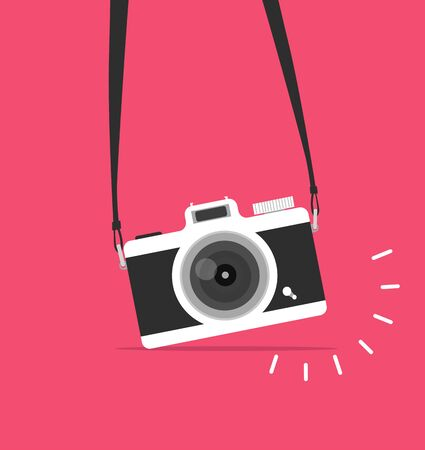 hanging camera vector flat style concept