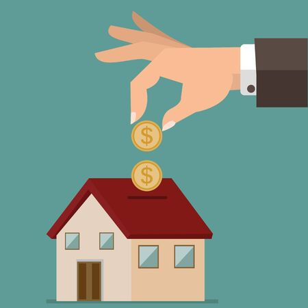 Hand putting coin in house piggy bank vector Vettoriali