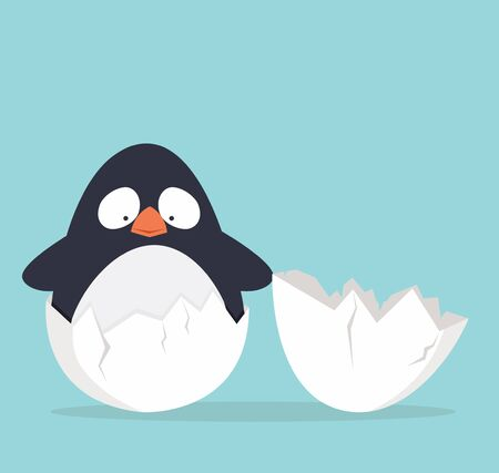 Cute penguin in egg vector