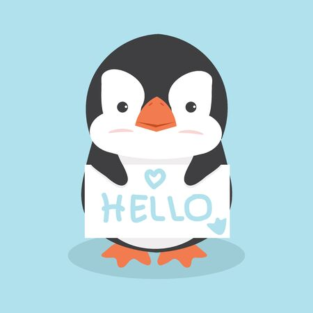 Cute Penguin holding sign vector