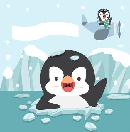 Cartoon Penguin cartoon on ice floe with Funny pilot